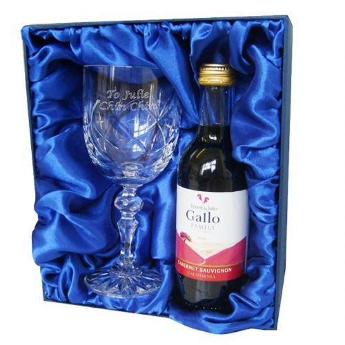 Personalised Red Wine & Crystal Goblet Set